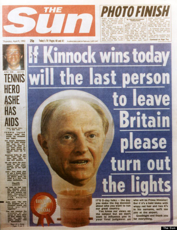 the sun 1992 front page