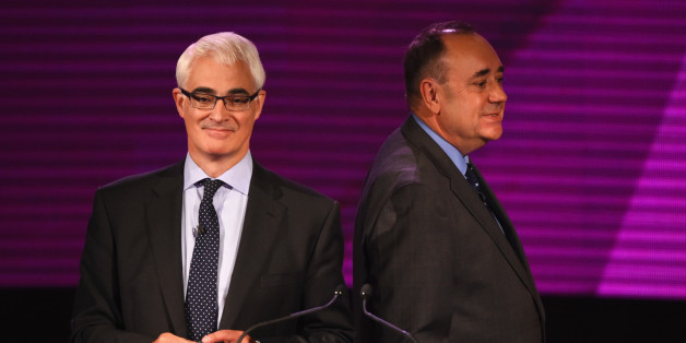 GLASGOW, SCOTLAND - AUGUST 25:  Alex Salmond (R) First Minister of Scotland and Alistair Darling (L) chairman of Better Together take part in a live television debate by the BBC in the Kelvingrove Art Galleries on August 25, 2014 in Glasgow, Scotland. Tonight is the second time the two politicians have gone head to head answering questions from members of the audience on key issues on Scottish independence. The referendum will take place on 18th September when the nation will be asked to vote ye
