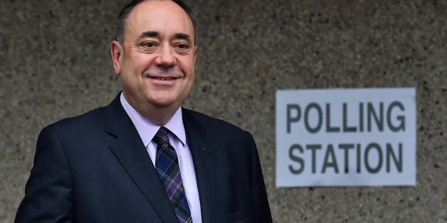 Scotland's First Minister Alex Salmond poses after casting his vote at a polling station in Strichen, Aberdeenshire, on September 18, 2014, during Scotland's independence referendum. Polling booths opened on Thursday in Scotland's historic referendum on independence, with record numbers of Scots expected to cast their vote on whether to stay or leave the United Kingdom. AFP PHOTO / BEN STANSALL        (Photo credit should read BEN STANSALL/AFP/Getty Images)