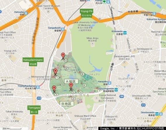 デング熱ウイルスを持った蚊を採取した場所と明治神宮の位置(地図)