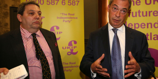 Ukip leader Nigel Farage and Ukip European election candidate David Coburn (left) attend a rally at the Corn Exchange, Edinburgh, where he boasted that he could snatch two seats in Scotland for the European Parliament as his party tries to make a breakthrough north of the border.