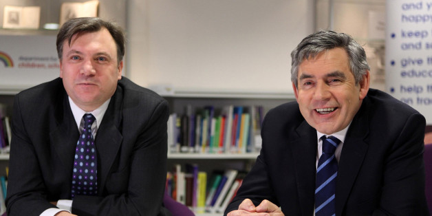 Prime Minister Gordon Brown and Secretary of State for Children, Schools and Families Ed Balls meet school children from St Monica's Primary School in Hackney, east London, who receive one-to-one tuition in maths and English, in the offices of the Department of Children, Schools and Families, London.