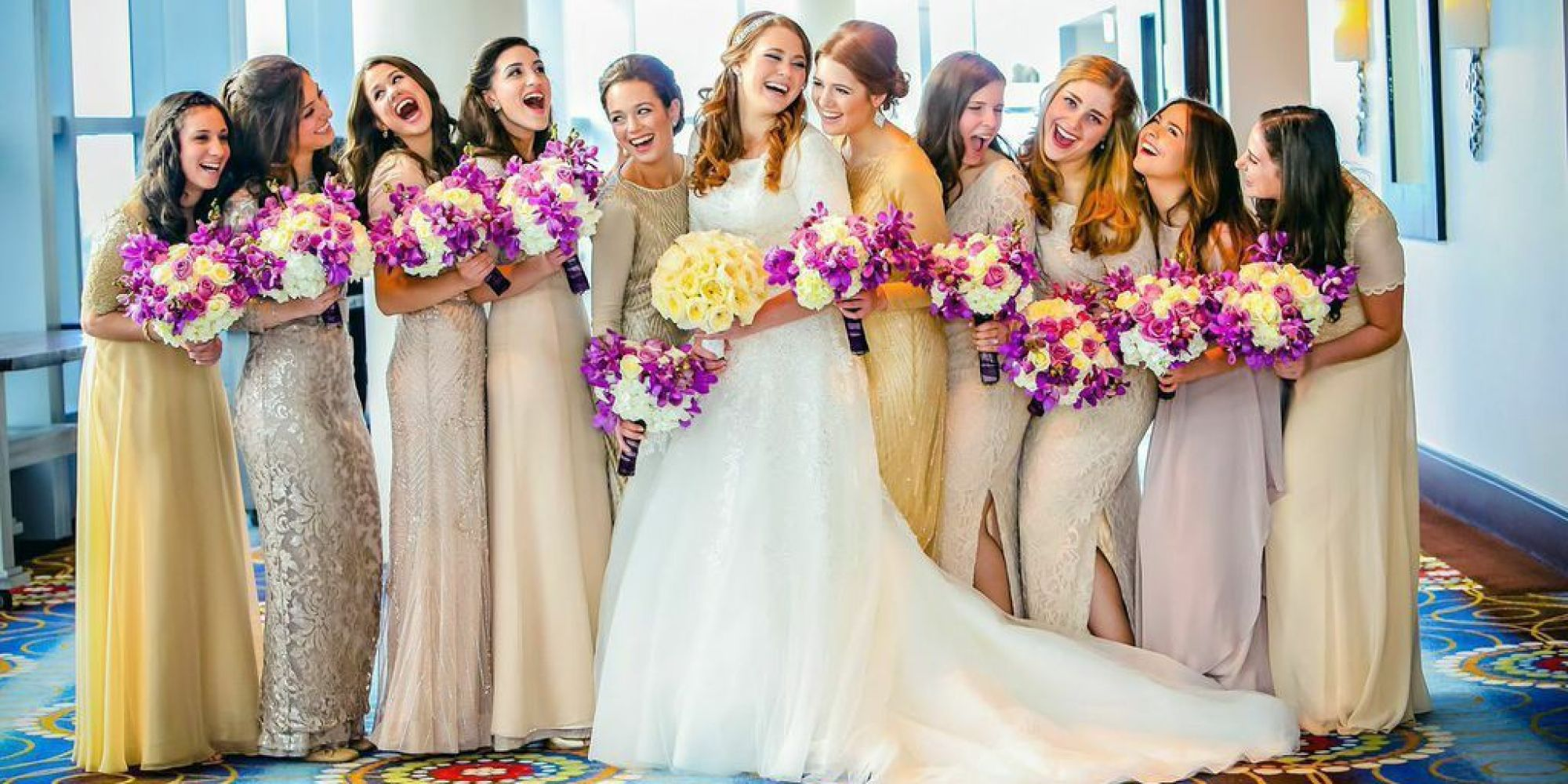 7 bridal parties who totally nailed the mismatched dresses trend 7 bridal parties who totally nailed the mismatched dresses trend huffpost ombrellifo Choice Image