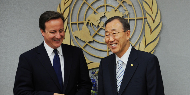 Prime Minister David Cameron meets with UN Secretary General Ban Ki Moon at the United Nations in New York, as part of his two day visit to the US.
