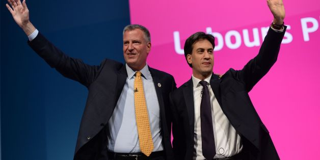 Mayor of New York City Bill De Blasio (left), with Labour leader Ed Milliband, before he addresses the Labour Party conference in Manchester.