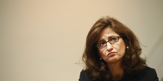 Nemat Shafik, deputy governor for markets and banking at the Bank of England, listens during the bank's quarterly inflation report news conference in London, U.K., on Wednesday, Aug. 13, 2014. Bank of England Governor Mark Carney pledged that Bank of England officials won't rush to raise interest rates as he highlighted overseas risks to Britain's recovery and the weakness of wages. Photographer: Simon Dawson/Bloomberg via Getty Images