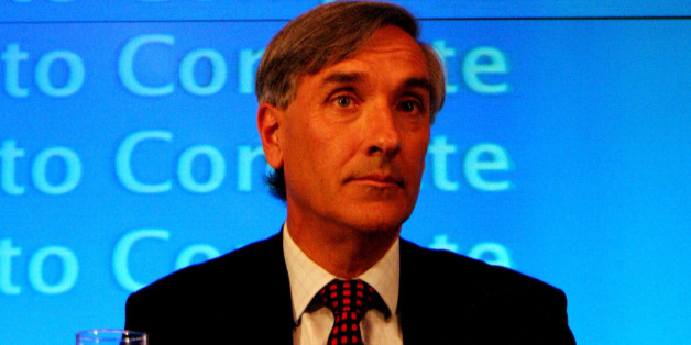 John Redwood MP looks on as Shadow Chancellor of the Exchequer, George Osborne comments on the Economic Competitiveness Policy Group Report.