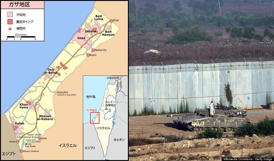 ガザ地区の地図と周りを取り囲む高い壁
