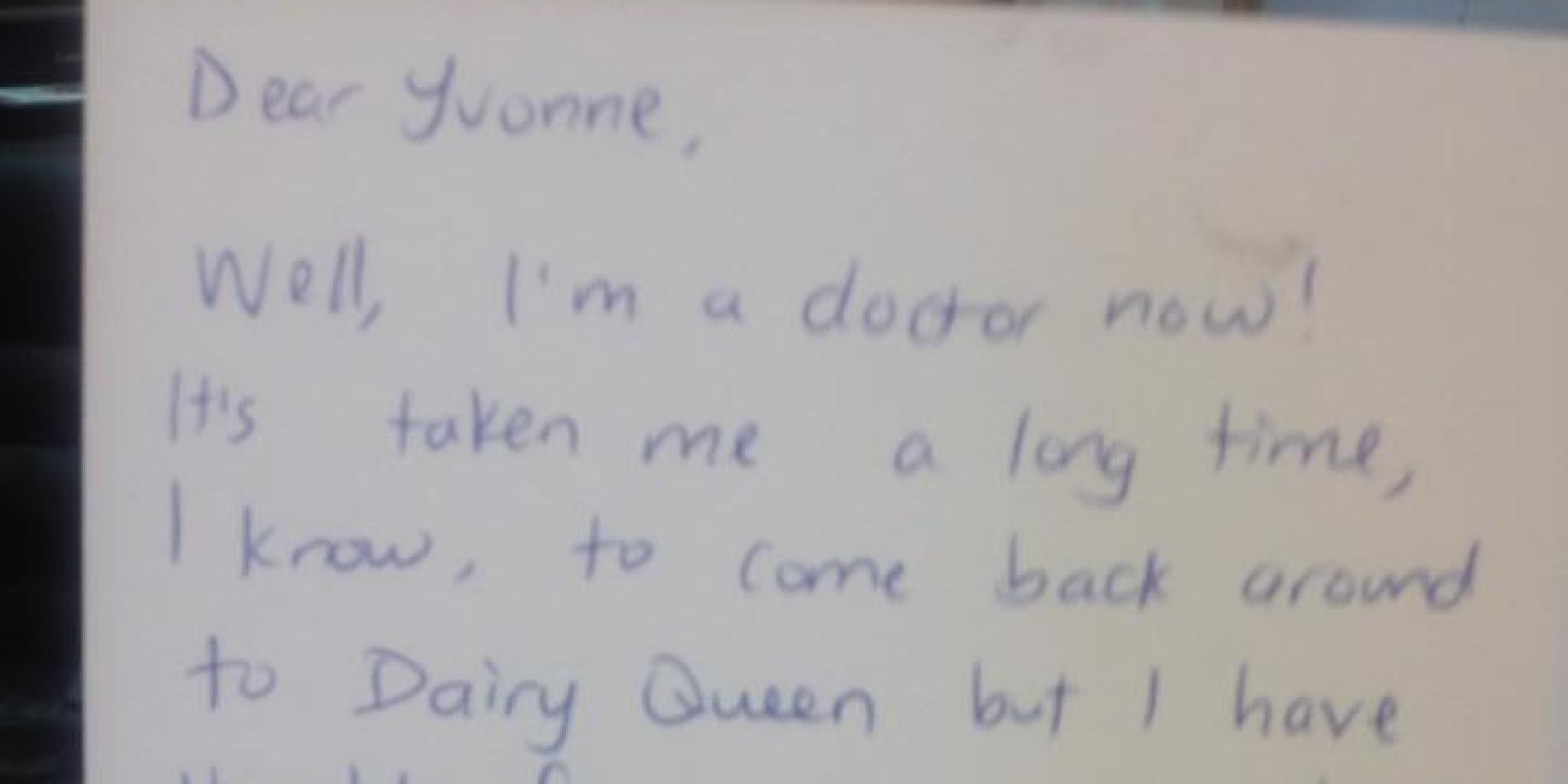 Doctor Writes Letter Of Gratitude To Dairy Queen Owner Moves Her