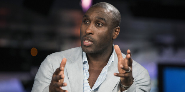 Sol Campbell, a former Premier League soccer player for Arsenal, and captain of the England football team, speaks during a Bloomberg Television interview in London, U.K., on Friday, March 14, 2014. Campbell spoke about his recently published autobiography and his time as England captain. Photographer: Simon Dawson/Bloomberg via Getty Images