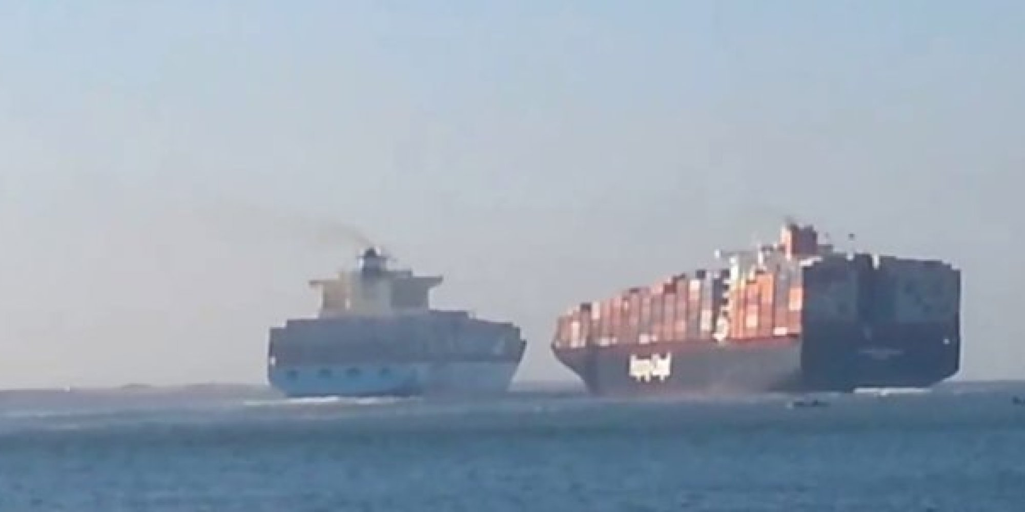 two container ships collide in the suez canal huffpost
