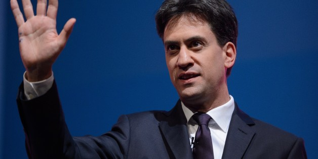 Labour Party leader Ed Miliband introduces New York Mayor Bill De Blasio (not pictured) in the main hall at Manchester Central, in Manchester on September 24, 2014 on the fourth day of the Labour Party conference. At the final party conference before the May 2015 general election, Labour Party leader Ed Miliband set out six key goals he hoped to achieve in office within a decade, to build a 'world-class Britain'. AFP PHOTO/LEON NEAL        (Photo credit should read LEON NEAL/AFP/Getty Images)