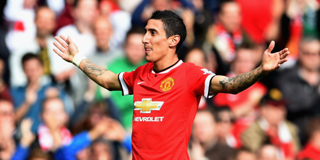 MANCHESTER, ENGLAND - OCTOBER 05:  Angel Di Maria of Manchester United celebrates scoring the first goal during the Barclays Premier League match between Manchester United and Everton at Old Trafford on October 5, 2014 in Manchester, England.  (Photo by Michael Regan/Getty Images)