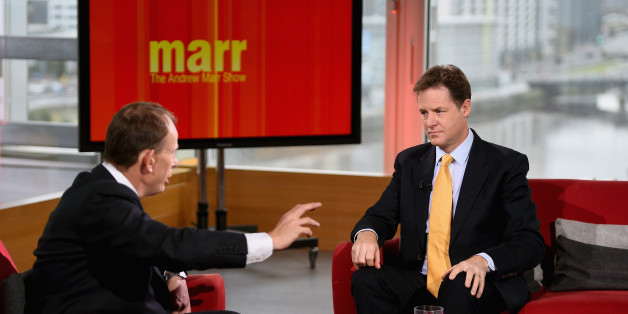 Nick Clegg, Deputy Prime Minister and leader of the Liberal Democrats, appears on the Andrew Marr show at BBC Scotland Pacific Quay on October 5, 2014 in Glasgow, Scotland. Liberal Democrat activists and supporters started gathering in the city yesterday for their final conference before the general election. (Photo by Jeff J Mitchell/Getty Images)
