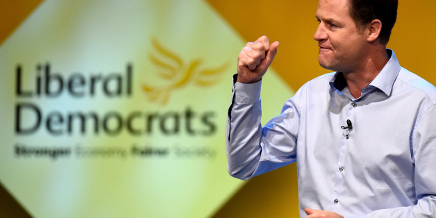 GLASGOW, SCOTLAND - OCTOBER 04:  Nick Clegg, Deputy Prime Minister and leader of the Liberal Democrats, addresses delegates at an evening rally during the partys autumn conference on October 4, 2014 in Glasgow, Scotland. Liberal Democrat activists and supporters are gathering in the city for their final conference before the general election.  (Photo by Jeff J Mitchell/Getty Images)