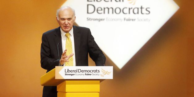 Business Secretary Vince Cable addresses delegates during day three of the Liberal Democrats autumn conference at the Clyde Auditorium in Glasgow, Scotland.