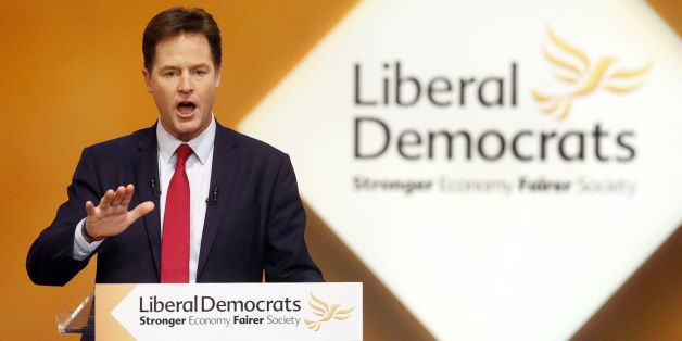 Deputy Prime Minister and leader of the Liberal Democrats Nick Clegg, during his address on day five of the Liberal Democrat autumn conference at the Clyde Auditorium in Glasgow, Scotland.