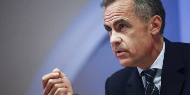 Mark Carney, governor of the Bank of England, gestures during the bank's quarterly inflation report news conference in London, U.K., on Wednesday, Aug. 13, 2014. Carney pledged that Bank of England officials won't rush to raise interest rates as he highlighted overseas risks to Britain's recovery and the weakness of wages. Photographer: Simon Dawson/Bloomberg via Getty Images