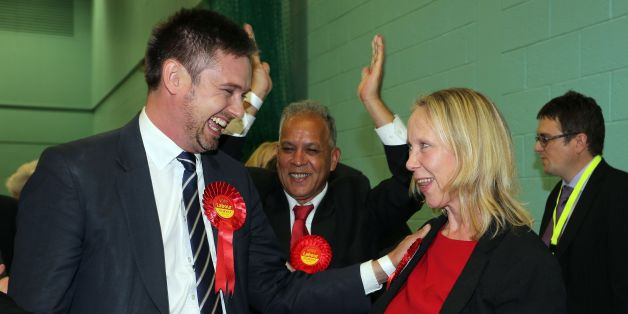 Labour's Liz Mcinnes celebrates her victory after the count for the Heywood and Middleton constituency parliamentary by-election held at Heywood sports village, Heywood, Greater Manchester.