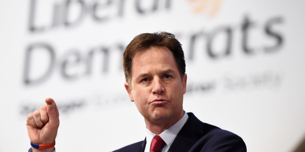 GLASGOW, SCOTLAND - OCTOBER 08:  Deputy Prime Minister and Liberal Democrat leader Nick Clegg delivers his keynote speech on the last day of the Liberal Democrat Autumn conference at the SECC on October 8, 2014 in Glasgow, Scotland. During his speech the deputy prime minister is expected to announce that people suffering with mental health problems will be able to see a specialist within 14 days, the same as cancer sufferers.  (Photo by Jeff J Mitchell/Getty Images)