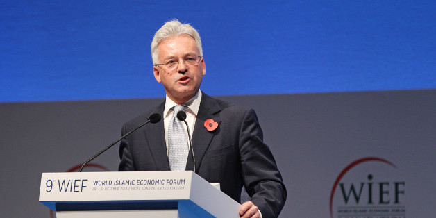 LONDON, ENGLAND - OCTOBER 31:  Minister of State for International Development Alan Duncan presents at the closing ceremony of the World Islamic Economic Forum at ExCel on October 31, 2013 in London, England.  (Photo by Miles Willis/Getty Images for 9th World Islamic Economic Forum)