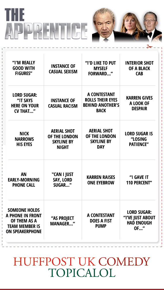 apprentice bingo card