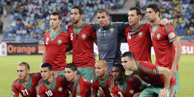 Morocco's team lines up before the Morocco vs Cape Verde Africa Cup of Nations 2013 group A football match at Moses Mahiba Stadium in Durban on January 23, 2013. AFP PHOTO/ FRANCISCO LEONG        (Photo credit should read FRANCISCO LEONG/AFP/Getty Images)