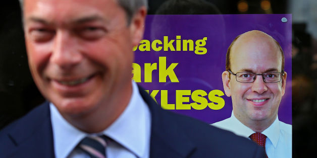 Ukip leader Nigel Farage gives media interviews as he joins his party's candidate Mark Reckless on Rochester High Street, Kent, on the campaign trail for the upcoming Rochester and Strood by-Election.