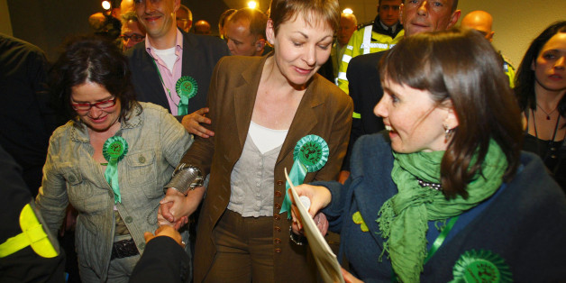Caroline Lucas (centre) celebrates after becoming Britain's first Green Party MP after winning the Brighton Pavilion seat at the 2010 General Election count at the Brighton Centre in East Sussex.