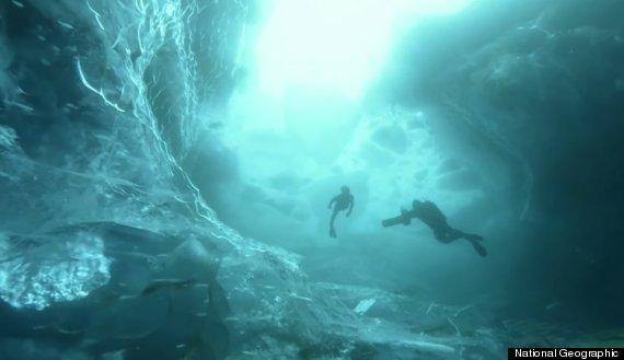 free diving iceberg