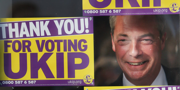 CLACTON-ON-SEA, ENGLAND - OCTOBER 10:  UK Independence Party (UKIP) leader Nigel farage poses for photographs at party headquarters after Douglas Carswell won the Clacton-on-Sea by-election for UKIP on October 10, 2014 in England.  Mr Carswell will become the first UKIP Member of Parliament.  (Photo by Peter Macdiarmid/Getty Images).  (Photo by Peter Macdiarmid/Getty Images)