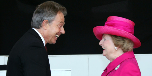 Former British Prime Minister Baroness Thatcher (R) shakes hands with British prime Minister Tony Blair during commemorations marking the 25th anniversary of the Britain-Falklands conflict in London, 17 June 2007. Britain marked 25 years since its last colonial war 17 June, with ex-premier Margaret Thatcher present and Prince Andrew prominent among veterans of the Falklands conflict with Argentina. Andrew, who served as a helicopter pilot in the 1982 conflict in which 907 people died, took the s