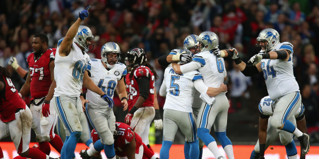 LONDON, ENGLAND - OCTOBER 26:  Matt Prater #5 of the Detroit Lions celebrates with team mates after kicking a 48 yard field to win the game during the NFL match between Detroit Lions and  Atlanta Falcons at Wembley Stadium on October 26, 2014 in London, England.  (Photo by Jordan Mansfield/Getty Images)