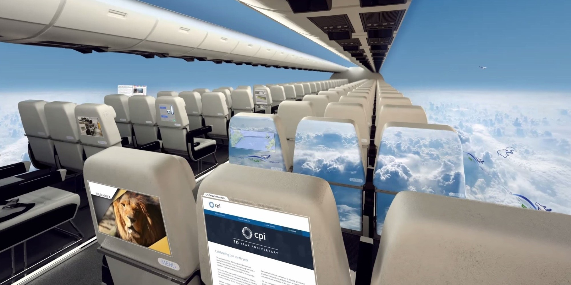 windowless airplanes of the future look exciting and terrifying