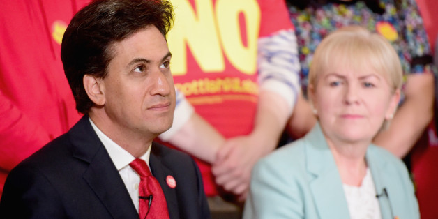 BLANTYRE, SCOTLAND - SEPTEMBER 04:  Labour Leader Ed Miliband and Leader of the Scottish Labour Party Johann Lamont are seen during the Scottish Labour Party's independence campaign trail on September 4, 2014 in Blantyre, Scotland.  Miliband urged Scots to reject independence in a referendum on the September 18, promising he will win a national election next year and give them the changes they desire.  (Photo by Jeff J Mitchell/Getty Images)