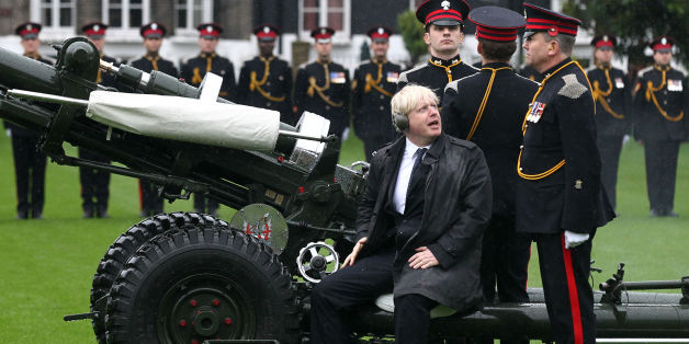 The Mayor of London Boris Johnson joins members of the Armed Forces and volunteers to fire a salute from a 105mm light gun to launch the London Poppy Appeal, which aims to raise more than 1million in just one day, in front of Armoury House, London.