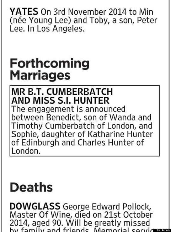 benedict cumberbatch engaged