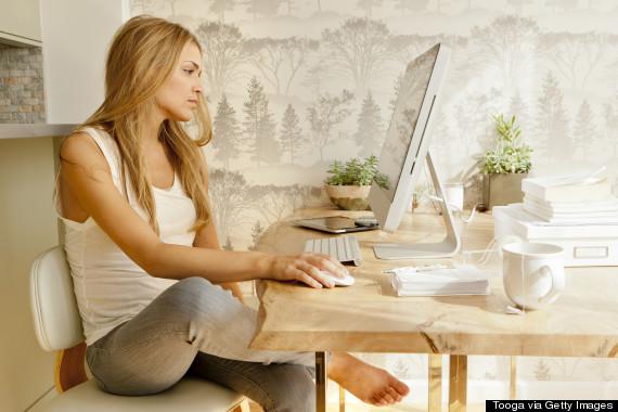 woman computer home
