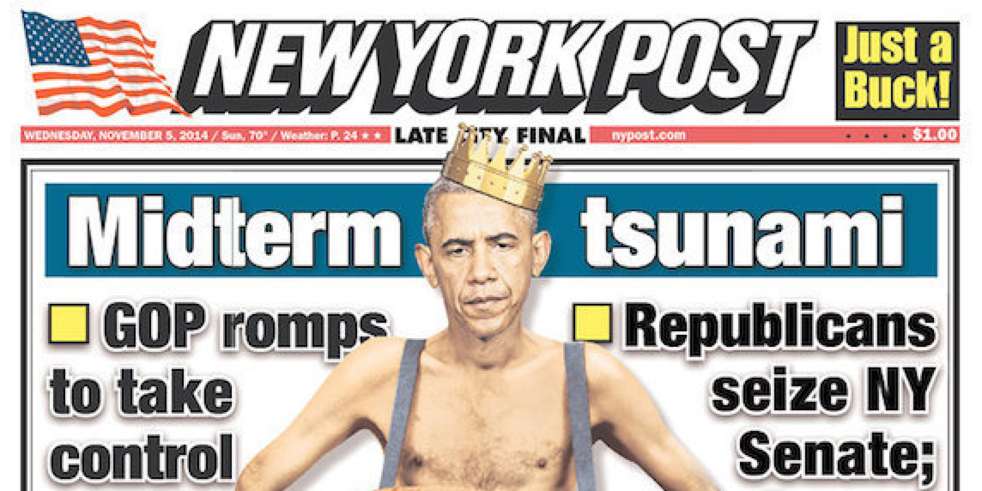 New York Post Front Page Shows A Naked Obama, Stripped