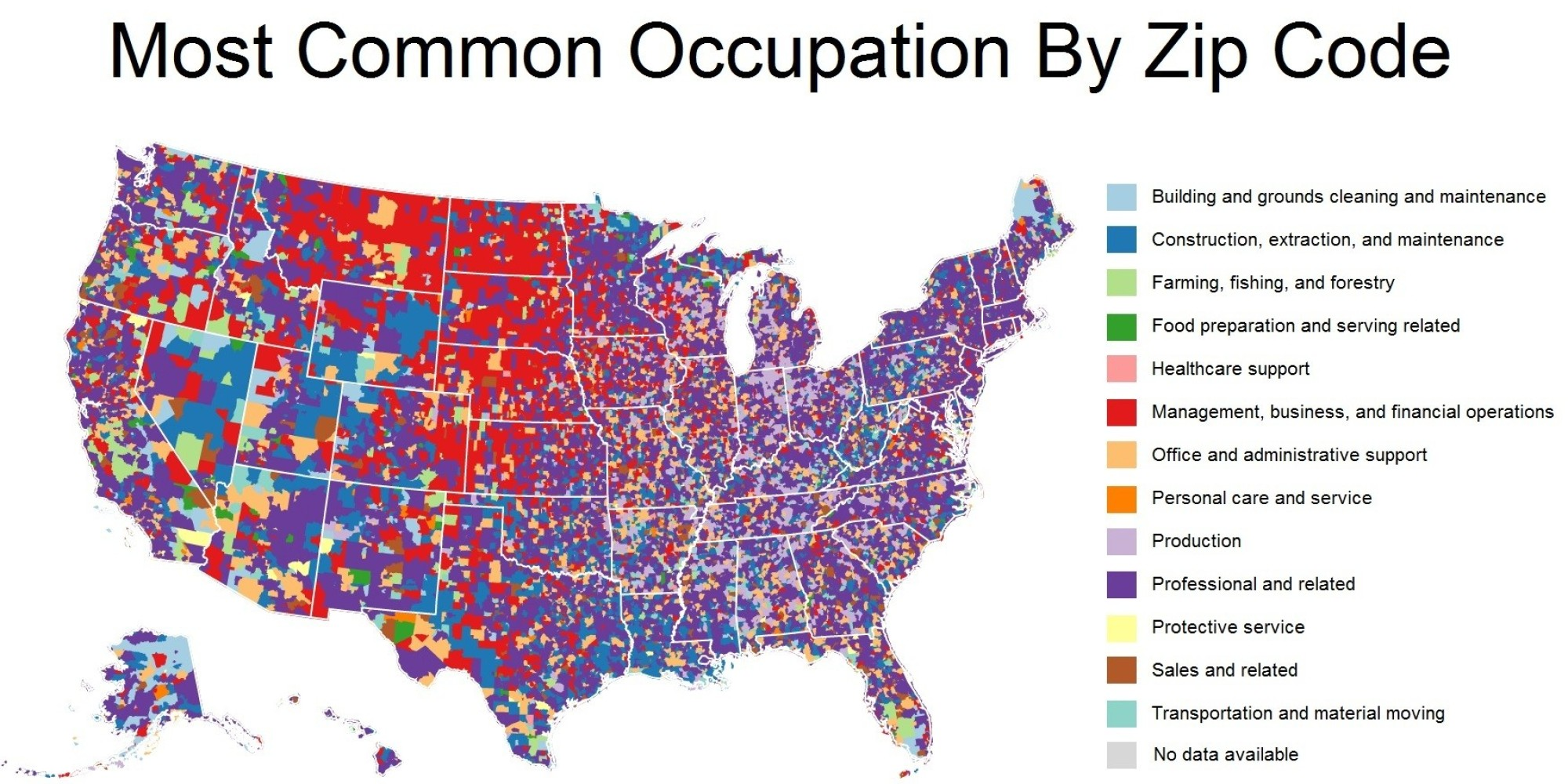 These Maps Show The Most Common Jobs In Each Zip Code HuffPost - Usa map zip codes