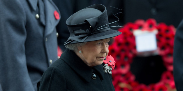 Britain's Queen Elizabeth II arrives during the service of remembrance at the Cenotaph in Whitehall, London, Sunday, Nov. 9, 2014. The annual service is to remember those who have lost their lives serving in the Armed Forces. (AP Photo/Tim Ireland)