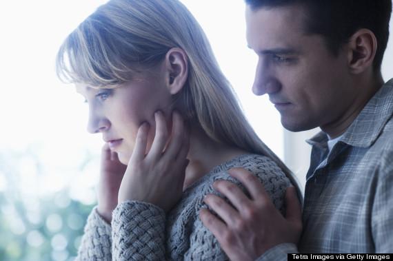 couple sad hug