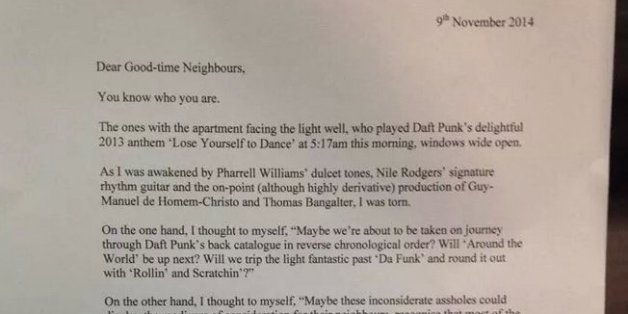 letter to neighbours about a party