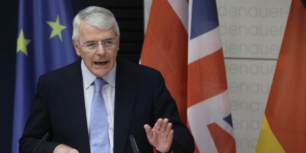Britain's former Prime Minister Sir John Major speaks during a Europe Forum of the Konrad-Adenauer-Foundation in Berlin, Germany, Thursday, Nov. 13, 2014. The topic of Majors's speech was 'Great Britain and the EU - In or out?'. (AP Photo/Michael Sohn)