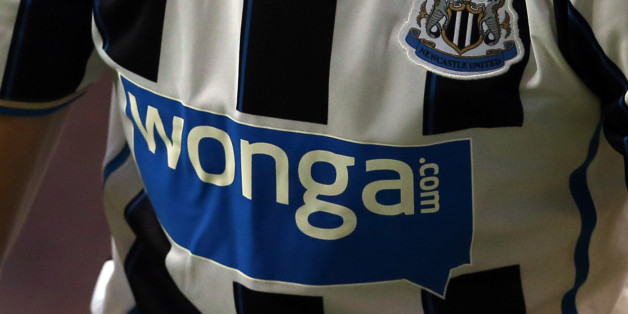 Wonga the shirt sponsor of Newcastle is displayed during the Pre Season Friendly match between Rangers and Newcastle United at Ibrox Stadium on August 06, 2013 in Glasgow, Scotland. (Photo by Ian MacNicol/Getty Images)