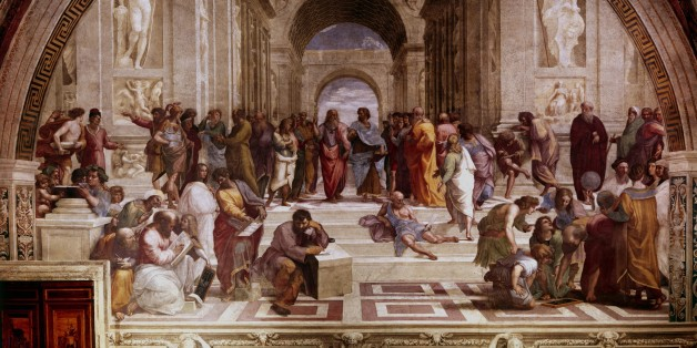 UNSPECIFIED -  : The School of Athens' showing Greek philosophers and scientist with Plato (428-348 BC) and his pupil Aristotle (384-322 BC) in the centre. Raphael (1483-1520) Raffaello Santi, Italian painter. Vatican. (Photo by Universal History Archive/Getty Images)