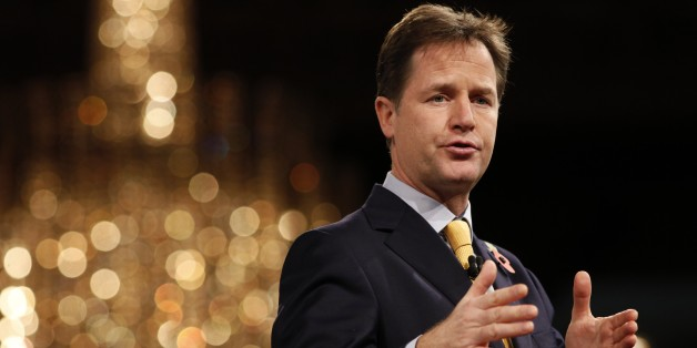 British Deputy Prime Minister Nick Clegg addresses delegates at the annual Confederation of British Industry (CBI) conference in central London on November 10, 2014.  AFP PHOTO / JUSTIN TALLIS        (Photo credit should read JUSTIN TALLIS/AFP/Getty Images)