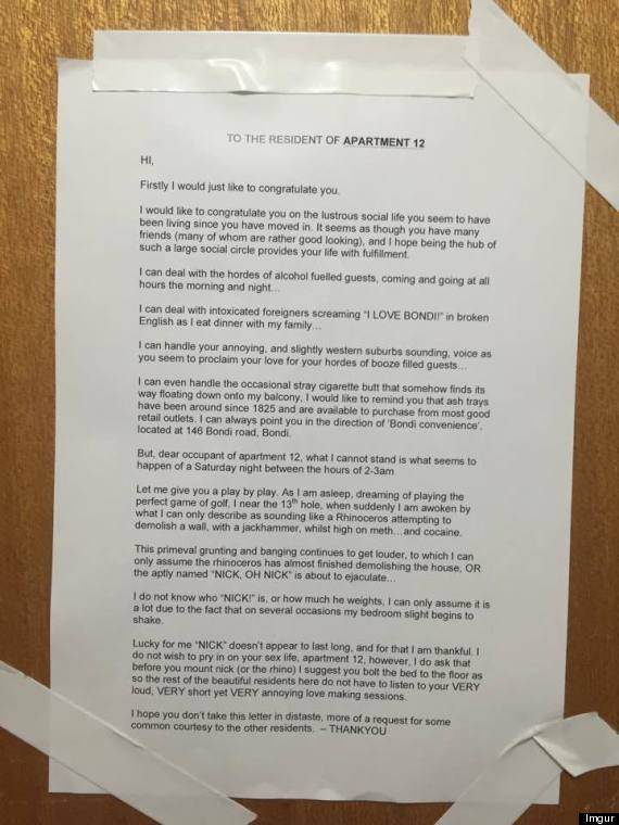 man pins letter to neighbours u0026 39  door  begs them to stop
