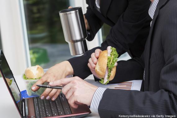 sandwich computer woman