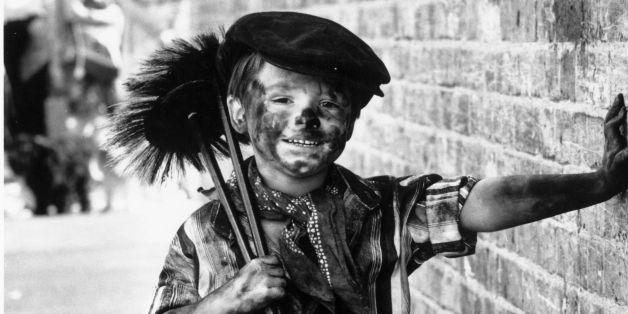 18th August 1980:  Four year-old Tommy Stafford dressed as a chimney-sweep for the fancy-dress competition at the East Street Market centenary celebrations, London.  (Photo by David Levenson/Keystone/Getty Images)